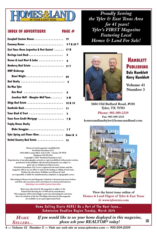Homes & Land Digest of Tyler & East Texas Online Magazine